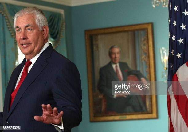 S Secretary of State Rex Tillerson speaks as he participates in a photo op with Libyan Prime Minister Fayez alSarraj at the State Department December...