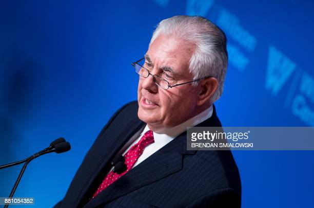 US Secretary of State Rex Tillerson speaks at a Woodrow Wilson Center event in the Reagan Building November 28 2017 in Washington DC / AFP PHOTO /...