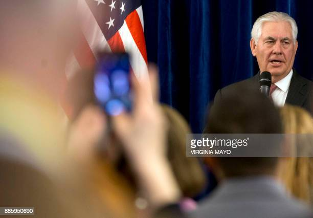 US Secretary of State Rex Tillerson speaks at the US Embassy in Brussels on December 5 2017 US Secretary of State Rex Tillerson meets his EU and NATO...