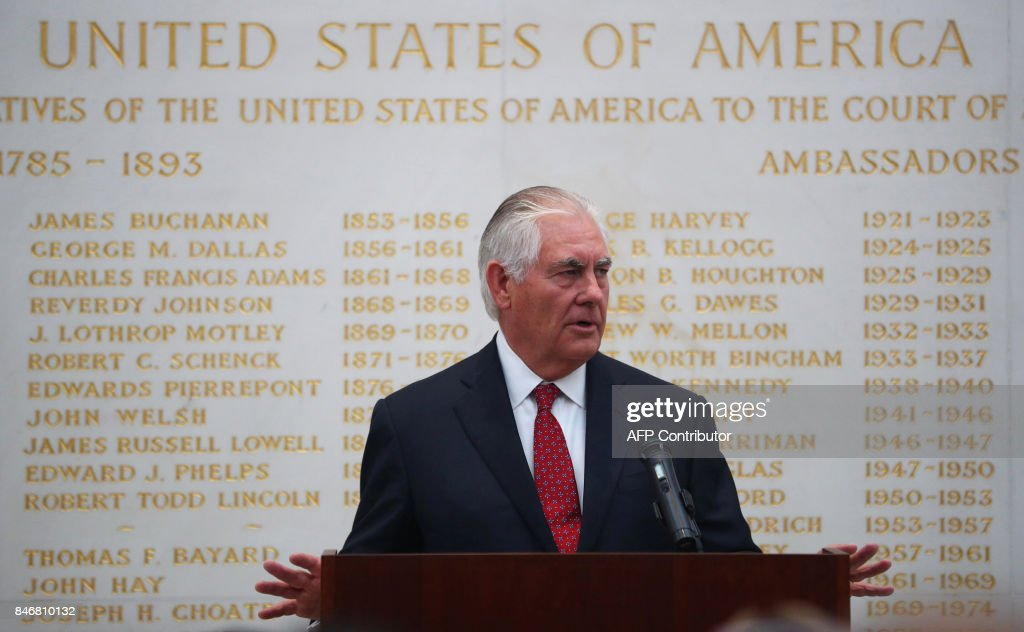 US Secretary of State Rex Tillerson speaks at the US Embassy in London on September 14, 2017. /