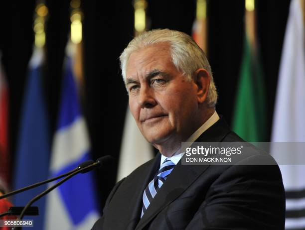 US Secretary of State Rex Tillerson speaks during a press conference at the Vancouver Foreign Ministers' Meeting on Security and Stability on the...