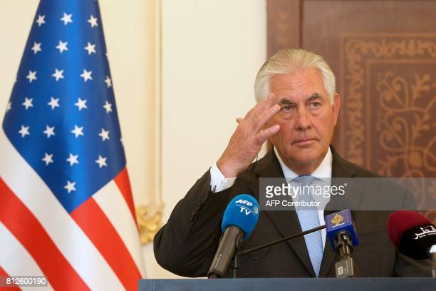 US Secretary of State Rex Tillerson speaks during a press conference in Doha on July 11 2017 The US and Qatar announced they have signed an agreement...