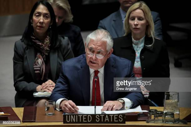 S Secretary of State Rex Tillerson speaks during a United Nations Security Council meeting concerning North Korea's nuclear ambitions December 15...