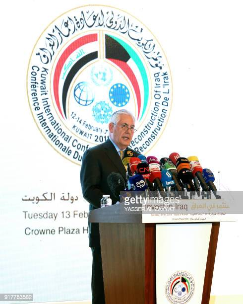 US Secretary of State Rex Tillerson speaks during the Kuwait International Conference for Reconstruction of Iraq in Kuwait City on February 13 2018 /...