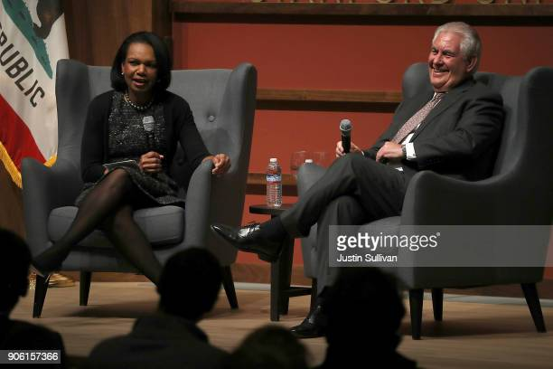 S Secretary of State Rex Tillerson speaks in conversation with former US Secreatry of State Condoleezza Rice to the Hoover Institution and the...