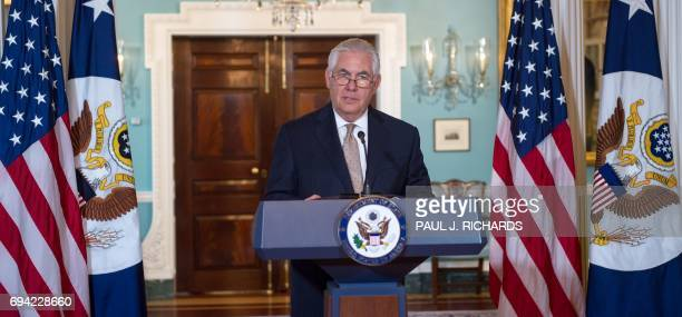 US Secretary of State Rex Tillerson speaks in the Treaty Room of the US Department of State on June 9 in Washington DC Tillerson urged Saudi Arabia...