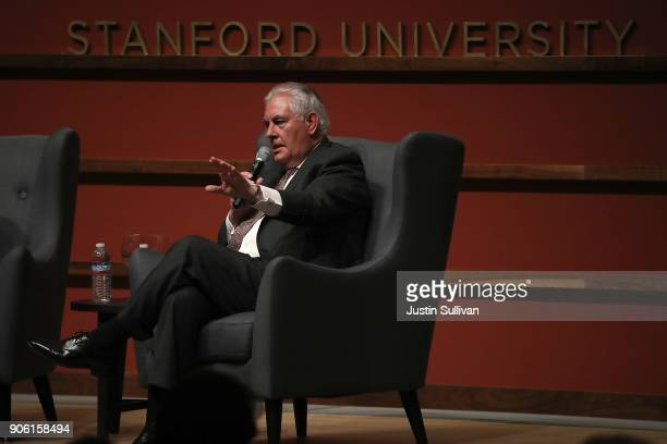 S Secretary of State Rex Tillerson speaks to the Hoover Institution and the Freeman Spogli Institute for International Studies at Stanford University...