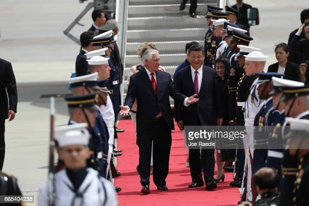 S Secretary of State Rex Tillerson talks with Chinese President Xi Jinping after he arrived at Palm Beach International Airport April 6 2017 in West...