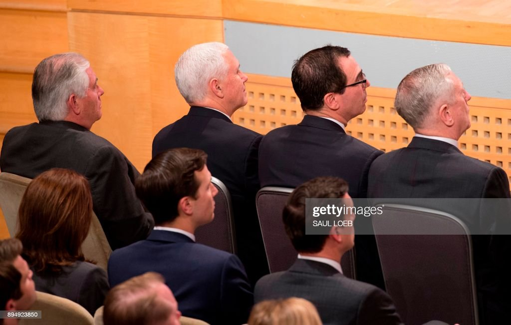 US Secretary of State Rex Tillerson (L), Vice President Mike Pence (2nd L), Secretary of Treasury Steve Mnuchin (2nd R) and Secretary of Defense Jim Mattis (R), attend a speech by US President Donald Trump about his administration's National Security Strategy at the Ronald Reagan Building and International Trade Center in Washington, DC, December 18, 2017. President Donald Trump rolled out his first 'National Security Strategy', a combative document designed to put meat on the bones of his 'America First' sloganeering. /