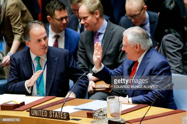US Secretary of State Rex Tillerson waves as he attends the UN Security Council Ministerial Briefing on NonProliferation and the DPRK at the United...