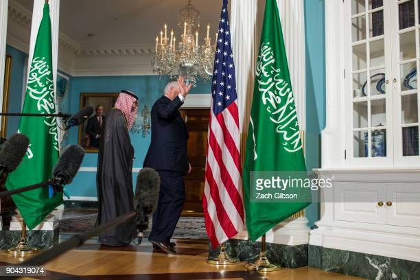 S Secretary of State Rex Tillerson waves as he departs from press event with Saudi Arabian Foreign Minister Adel alJubeir at the State Department on...