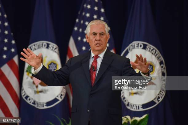S Secretary of State Rex W Tillerson addresses US Department of State employees in the Dean Acheson Auditorium of the Department of State on...