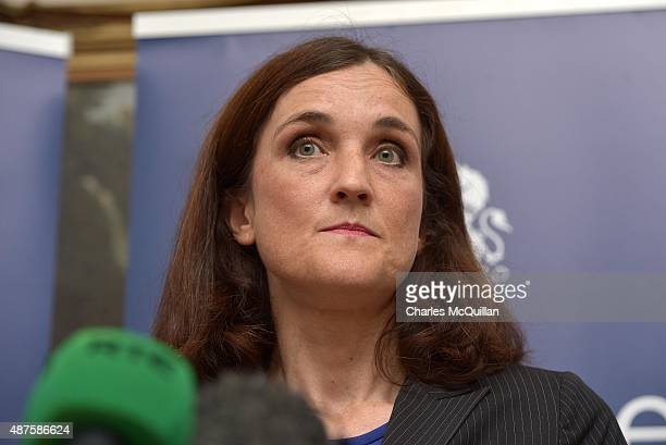 Secretary of State Theresa Villiers gives her reaction to the DUP walkout on September 10, 2015 in Belfast, Northern Ireland. Northern Ireland First...