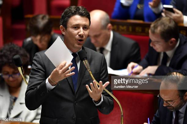 Secretary of State to the Prime Minister and Government Spokesman Benjamin Griveaux answers deputies during the weekly session of questions to the...