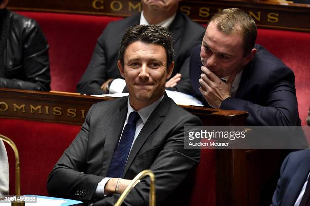 Secretary of State to the Prime Minister and Government Spokesman Benjamin Griveaux looks on as ministers answer deputies during the weekly session...