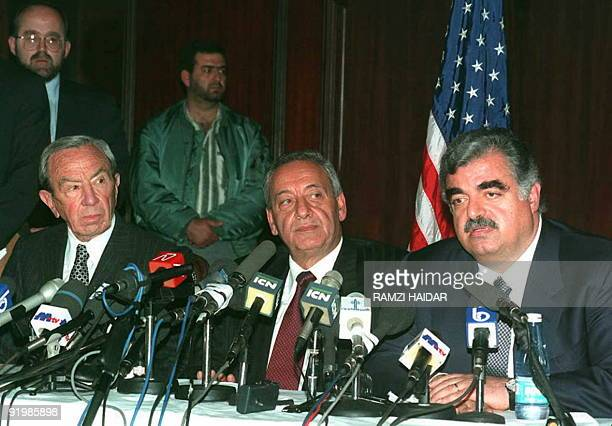 US Secretary of State Warren Christopher attends a joint press conference with Lebanese Prime Minister Rafic Hariri and Lebanese parliament speaker...