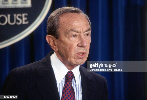 Secretary of State Warren Christopher speaks to the media in the White House's Brady Press Briefing Room, Washington DC, October 7, 1993. He spoke...