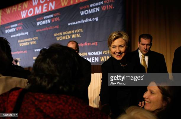 S Secretary of Statedesignate Sen Hillary Clinton greets people as she attends a luncheon of Emily's List at the Hilton Washington Hotel January 18...