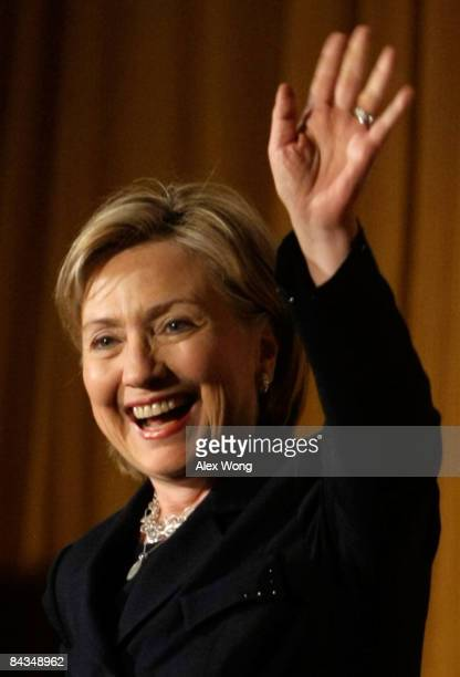 S Secretary of Statedesignate Sen Hillary Clinton waves during a luncheon of Emily's List at the Hilton Washington Hotel January 18 2009 in...