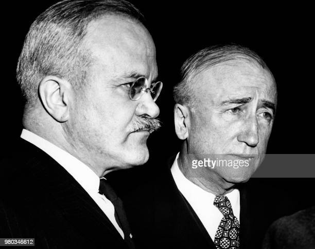 US secretary of States James F Byrnes and Soviet Foreign Affairs minister Vyacheslav Molotov are seen during the Big Four Conference on November 29...