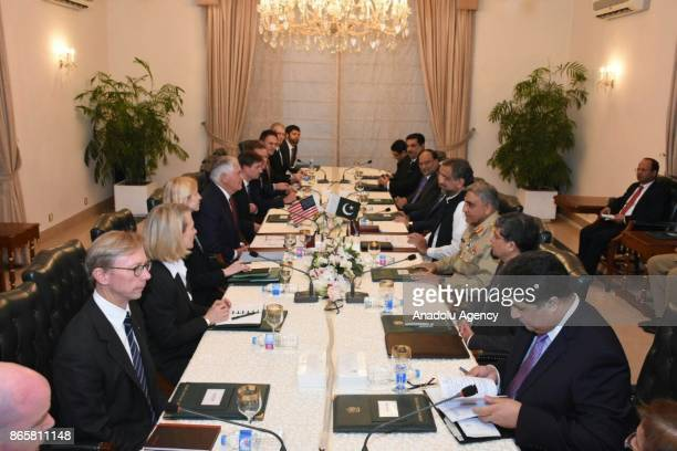 US Secretary of States Rex Tillerson holds talks with Pakistan's Prime Minister Shahid Khaqan Abbasi during his daylong visit to Islamabad on October...