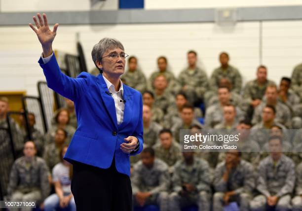 Secretary of the Air Force Heather Wilson speaks to Liberty Wing personnel during a town hall at Royal Air Force Lakenheath England United Kingdom...