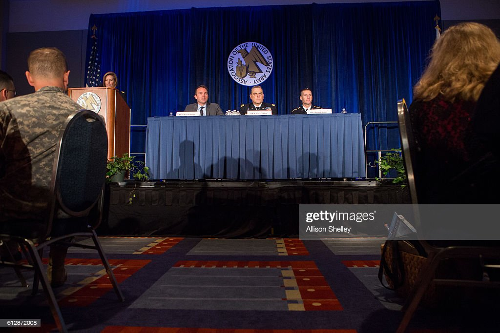 Secretary of the Army Eric Fanning, Army Chief of Staff Gen. Mark Milley and Army Sgt. Major Daniel Dailey, speak on a panel during the Association of U.S. Army Annual Meeting on October 5, 2016, in Washington, D.C. Major Dailey, Gen. Milly, and Secretary Fanning were part of a Military Family Forum of senior army leaders gathered for the annual meeting and exposition, the largest military professional development forum in North America.
