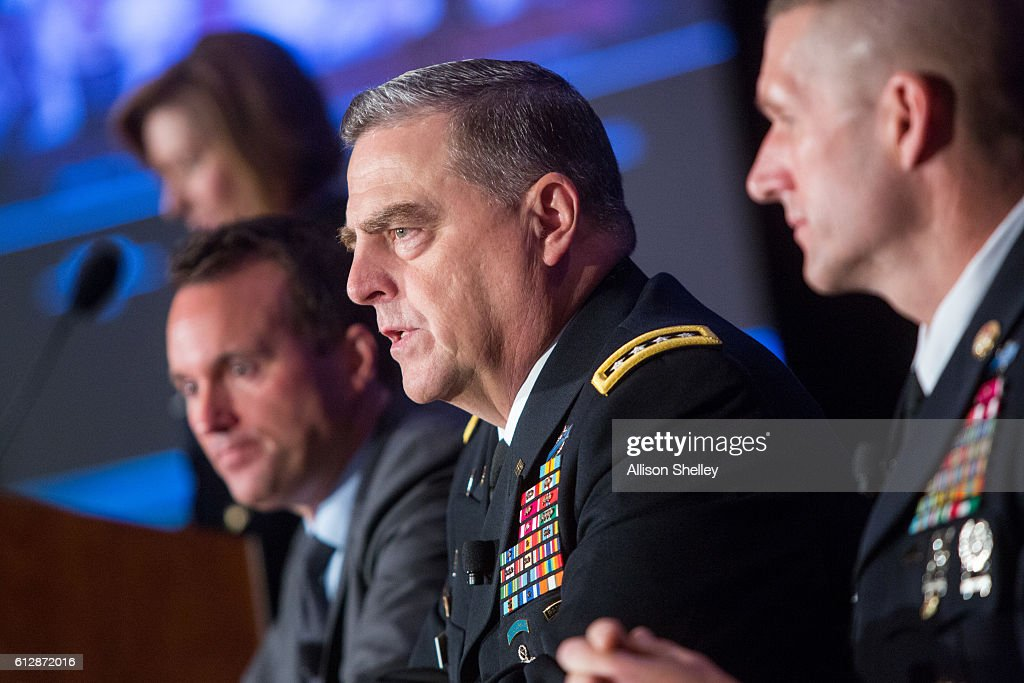 Secretary of the Army Eric Fanning, Army Chief of Staff Gen. Mark Milley and Army Sgt. Major Daniel Dailey, speak during the Association of U.S. Army Annual Meeting on October 5, 2016, in Washington, D.C. Major Dailey, Gen. Milly, and Secretary Fanning were part of a Military Family Forum of senior army leaders gathered for the annual meeting and exposition, the largest military professional development forum in North America.