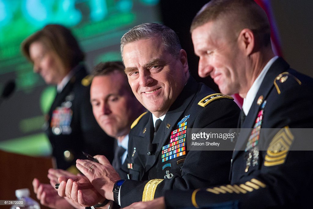 Secretary of the Army Eric Fanning, Army Chief of Staff Gen. Mark Milley and Army Sgt. Major Daniel Dailey speak during the Association of U.S. Army Annual Meeting on October 5, 2016, in Washington, D.C. Major Dailey, Gen. Milly, and Secretary Fanning were part of a Military Family Forum of senior army leaders gathered for the annual meeting and exposition, the largest military professional development forum in North America.
