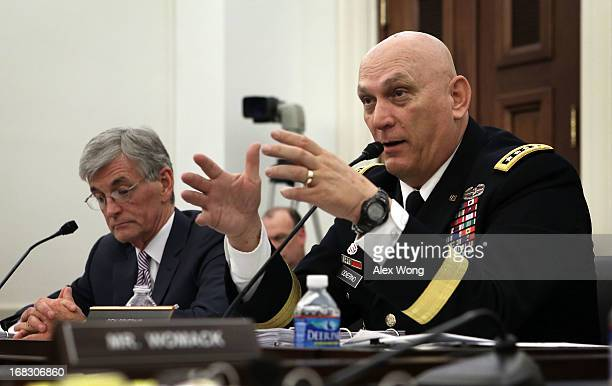 S Secretary of the Army John McHugh and Chief of Staff of the Army Gen Raymond Odierno testify during a hearing before the Defense Subcommittee of...