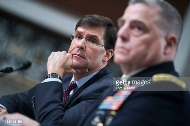 Secretary of the Army Mark T Esper left and Gen Mark A Milley Army chief of staff testify during a Senate Armed Services Committee hearing in Dirksen...