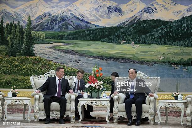 Secretary of the Central Commission for Discipline Inspection Wang Qishan meets Russian Presidential Chief of Staff Sergei Ivanov at The Great Hall...