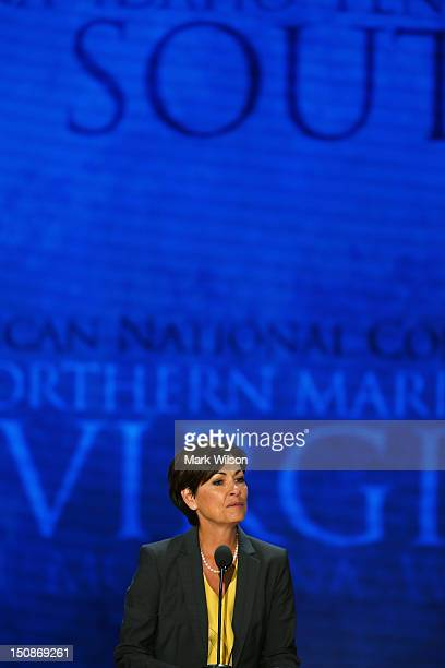 Secretary of the Convention Lieutenant Gov of Iowa Kim Reynolds speaks at the podium during the Republican National Convention at the Tampa Bay Times...