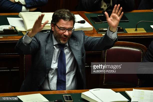 Secretary of the Council of Ministers Giancarlo Giorgetti reacts during a session for a Parliament vote of confidence on Italy's revised 2019 budget...