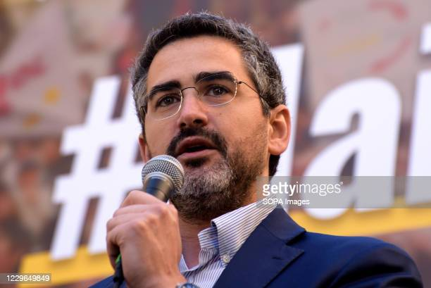 Secretary of the Council of Ministers Riccardo Fraccaro, speaks from the stage during the demonstration of the Movimento Cinque Stelle , in defense...