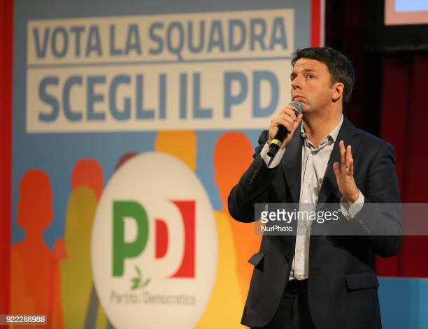 Secretary of the Democratic Party Matteo Renzi during his campaign for national political elections at Vittorio Emanuele Theatre on February 21, 2018...