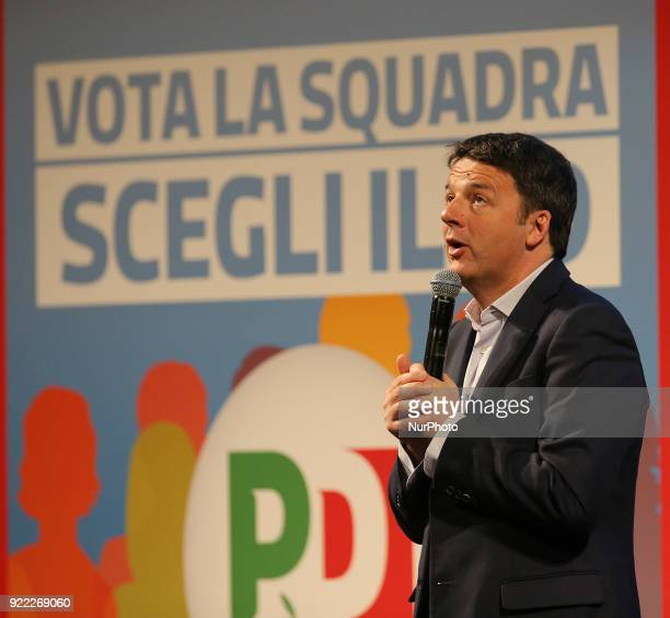 Secretary of the Democratic Party Matteo Renzi during his campaign for national political elections at Vittorio Emanuele Theatre on February 21 2018...