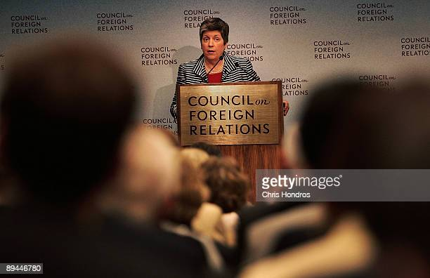 Secretary of the Department of Homeland Security Janet Napolitano speaks at the Council on Foreign Relations July 29, 2009 in New York City. The head...