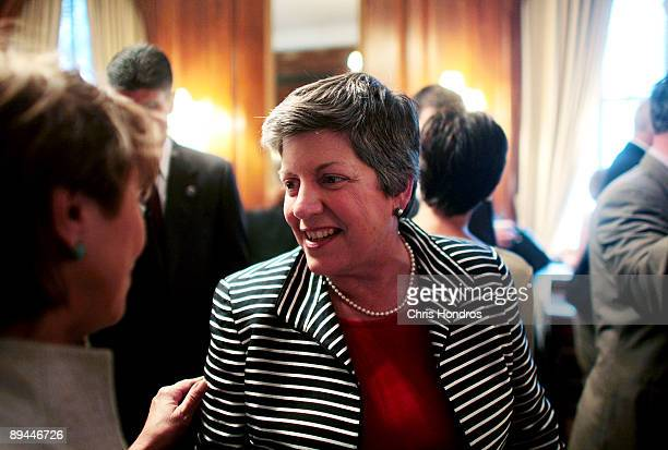 Secretary of the Department of Homeland Security Janet Napolitano greets people before speaking at the Council on Foreign Relations July 29, 2009 in...