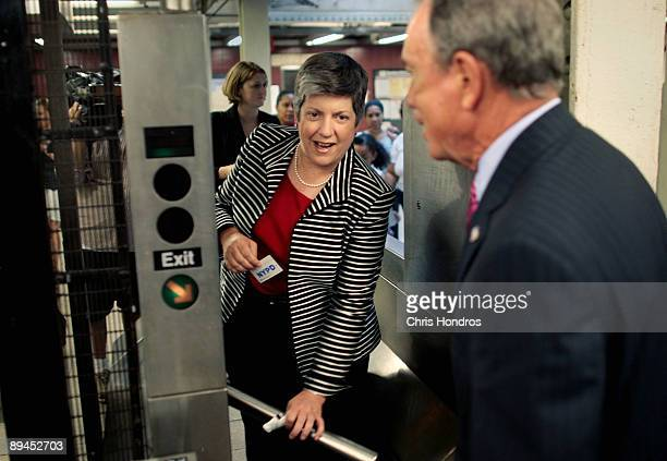 Secretary of the Department of Homeland Security Janet Napolitano enter the turnstile of the subway with New York City Mayor Michael Bloomberg July...