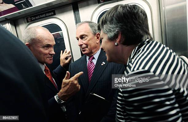 Secretary of the Department of Homeland Security Janet Napolitano rides the subway with New York City Mayor Michael Bloomberg and New York City...