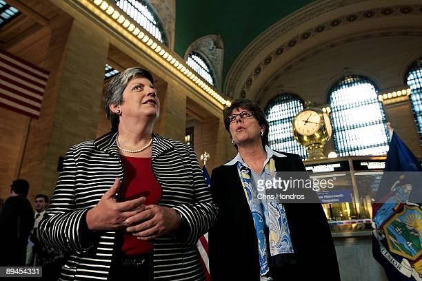 Secretary of the Department of Homeland Security Janet Napolitano looks over Grand Central Terminal with interim Metropolitan Transportation...