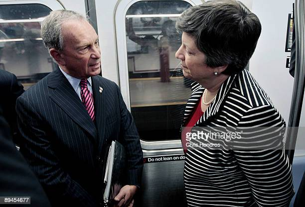 Secretary of the Department of Homeland Security Janet Napolitano rides the subway with New York City Mayor Michael Bloomberg July 29, 2009 in New...