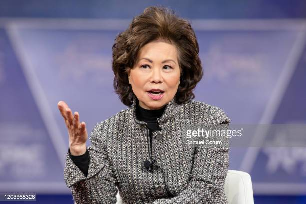 Secretary of the Department of Transportation Elaine Chao speaks during the Conservative Political Action Conference 2020 hosted by the American...