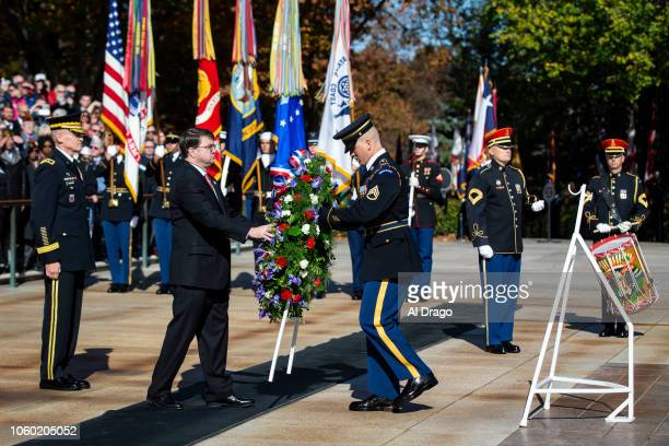 Secretary of the Department of Veterans Affairs Robert Wilkie places a wreath at the Tomb of the Unknown Soldier at Arlington National Cemetery on...