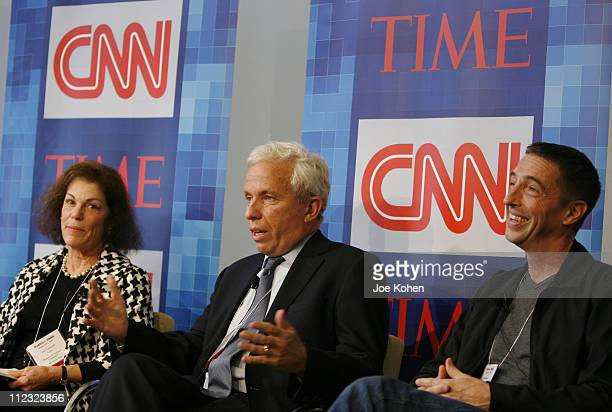 Secretary of the DNC Alice Germond President of Air America Media Mark Green and Political Commentator Ron Reagan Jr speak during CNN's Media...