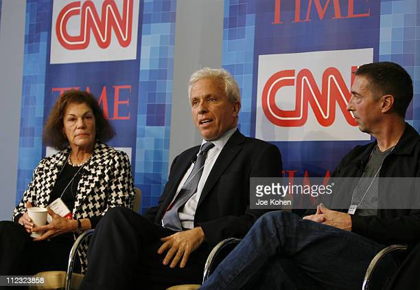 Secretary of the DNC Alice Germond President of Air America Media Mark Green and Political Commentator Ron Reagan Jr speaks during CNN's Media...