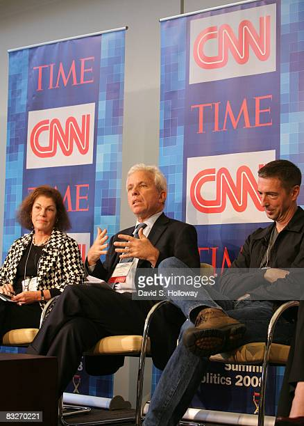 Secretary of the DNC Alice Germond President of Air America Media Mark Green and Political Commentator Ron Reagan Jr speak during Time Warner's...