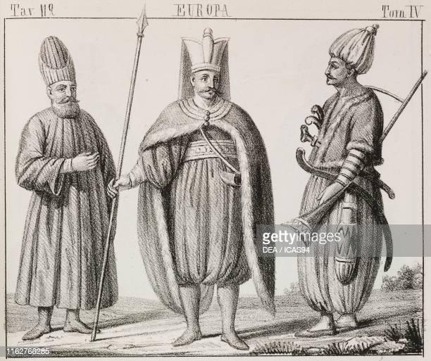 Secretary of the Guards guard of the Grand Vizier and Janissary Ottoman Empire Europe lithograph from Galleria universale di tutti i popoli del mondo...