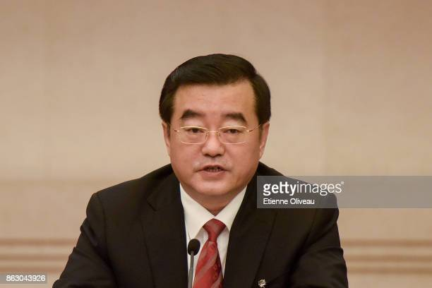 Secretary of the Heilongjiang CPC Provincial Committee Zhang Qingwei attends a meeting of the 19th Communist Party Congress at the Great Hall of the...